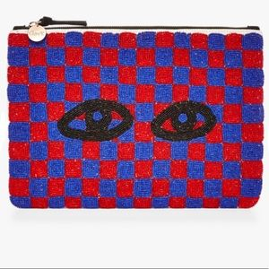New Anthropologie Claire V Flat Beaded Eyes Clutch